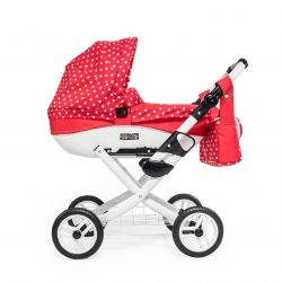 Kočík pre bábiky Jasmine Kids červený puntík