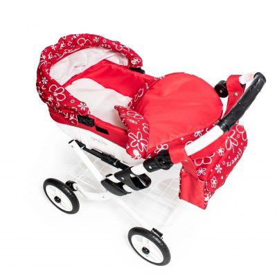 Dětský kočárek pro panenky JASMINE Kids K17 červené květy det.2