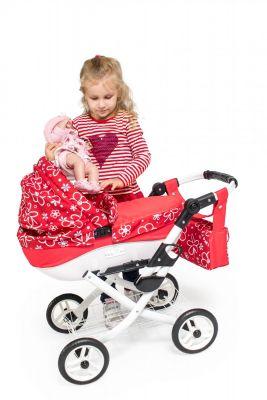 Detský kočík pre bábiky Jasmine Kids 17 červené kvety detské kočíky 2020