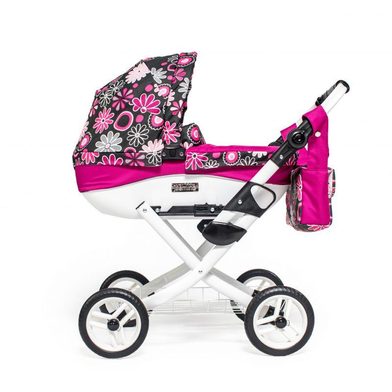 Dětský kočárek pro panenky JASMINE Kids K19 růžové květy