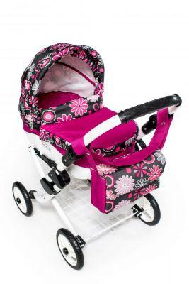 Dětský kočárek pro panenky JASMINE Kids K19 růžové květy det.
