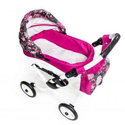 Dětský kočárek pro panenky JASMINE Kids K19 růžové květy det.3