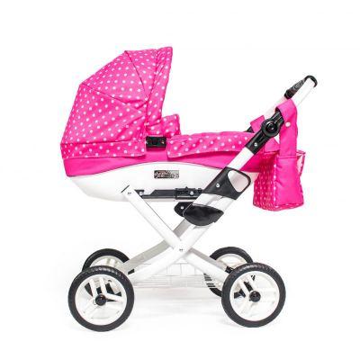 Kočík pre bábiky Jasmine Kids ružový puntík