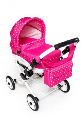 Dětský kočárek pro panenky JASMINE Kids K9 růžový puntík det.2