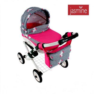 Hluboký kočárek pro panenky Jasmine Kids Unicorn S