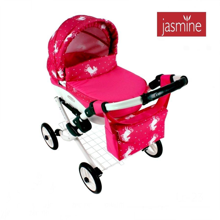 Růžový kočárek pro panenky velký Jasmine Kids Jednorožec
