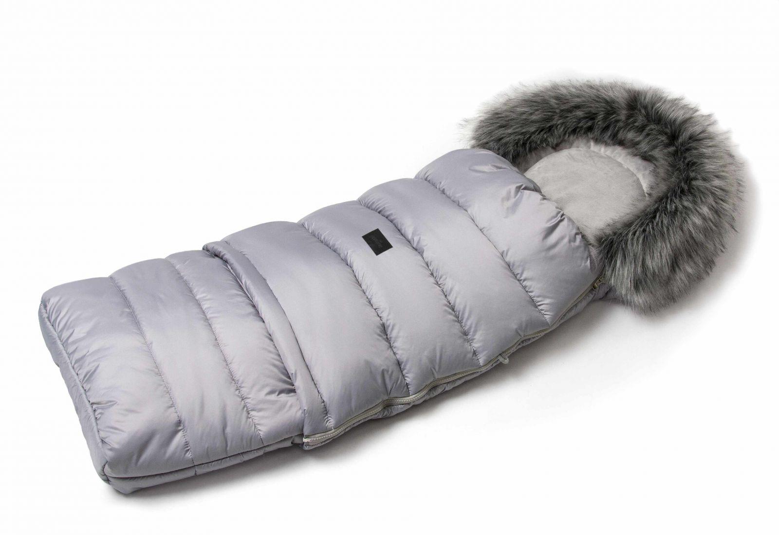 JASMINE Zimný fusak s kožušinou - svetlo šedý
