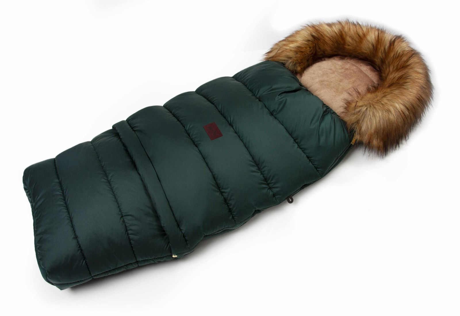 JASMINE Zimný fusak s kožušinou - smaragd