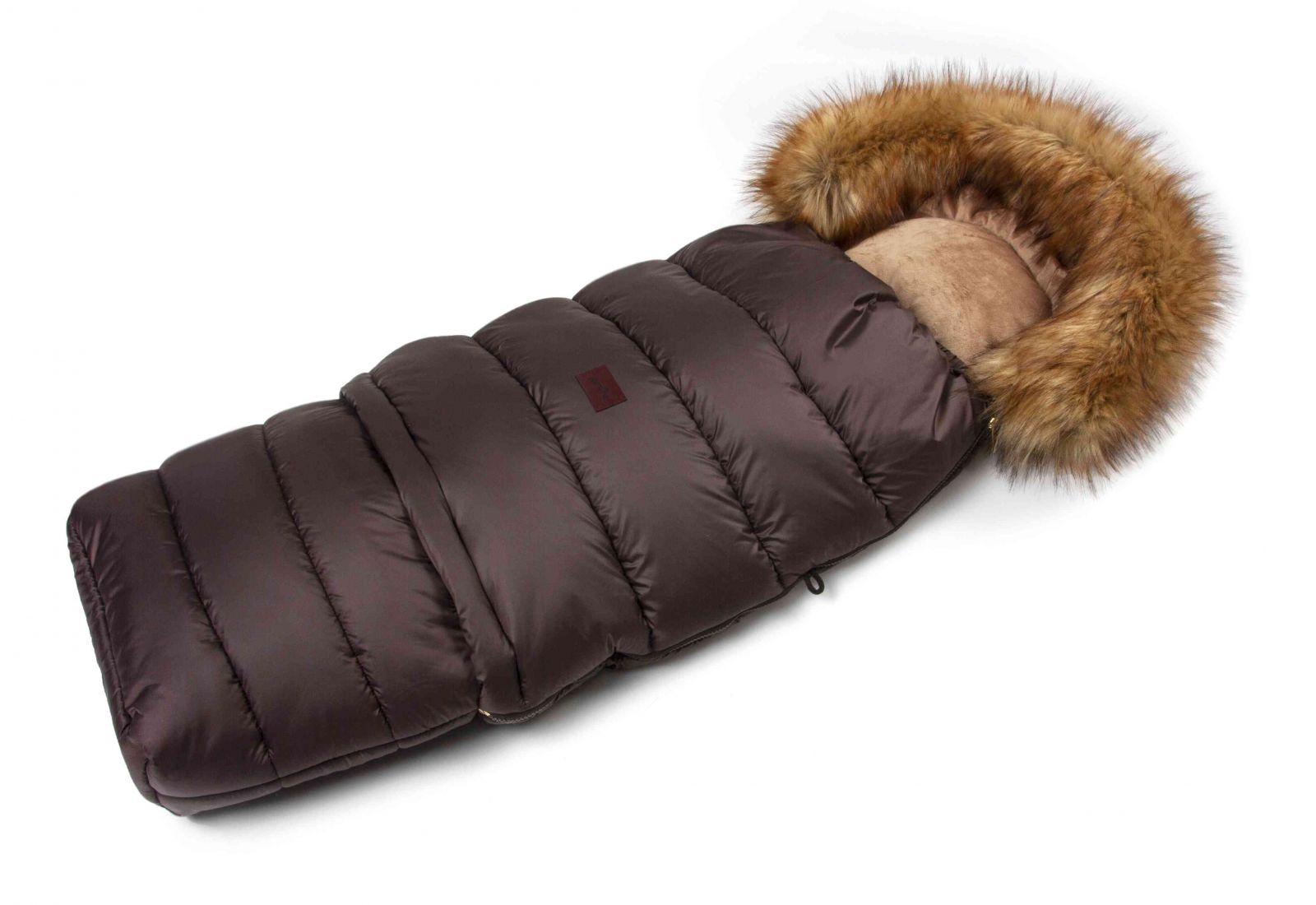 Zimní fusak do kočárku s kožíškem - hnědý